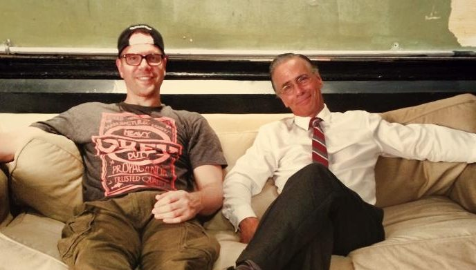 Photograph of Jim Parrack and Jim Jarrett on the set of MEISNER